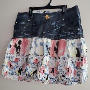 Desigual Denim and Floral Print Bubble Skirt